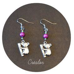Boucles d'oreilles koala et  perle de verre prune