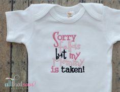 https://www.etsy.com/listing/181375749/mommy-is-taken-baby-girls-bodysuit-baby?ref=listing-18  Mommy is Taken  Baby Girls Bodysuit  Baby by AllThatSassBoutique, $18.00