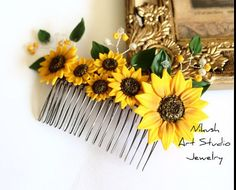 Sunflower Hair Comb Sunflower Wedding Large by NikushJewelryArt
