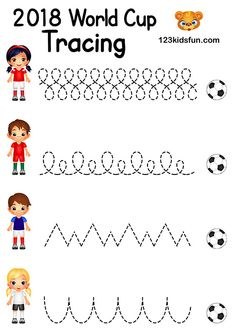 Tracing - Football World Cup Free Worksheets and Activities for Kids. Summer Arts And Crafts, Summer Activities For Kids, Color Activities, Preschool Activities, Crafts For Kids, Kids Fun, World Cup Kits, World Cup Games, Tottenham Hotspur