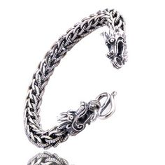Nepal Sterling Silver Dragon Men's Bracelet