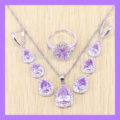 Purple Amethyst Jewelry Set In 925 Sterling Silver Women Wedding Crytal Rings/Pendant/Earrings/Necklace Free Gift Box