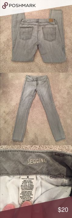 "American Eagle jeggings in euc AEO gray jeggings. Inseam is 28"" American Eagle Outfitters Jeans Skinny"