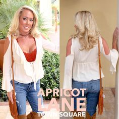 """Off the shoulder is making a solid come back. This one from Cotton Candy is only $42. Grab yours today. Model is 5'3"""" and wearing a small. #cottoncandy #shopalb #apricotlane"""