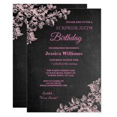 #Pink Floral Chalkboard Surprise Birthday Card - #cute #pink #sweet #custom