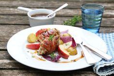 BACONSURRET KYLLING MED EPLE OG BALSAMICOSAUS Frisk, Bacon, Pork, Beef, Chicken, Dinner, Vegetables, Breakfast, Desserts