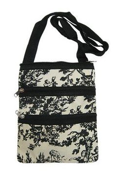 Small Hipster Cross Body Bag Purse Black Toile Print $9.85