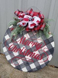 Buffalo Plaid Christmas Door Hanger by Junque 2 Jewels Christmas Door, Christmas Signs, Outdoor Christmas, Rustic Christmas, Christmas Holidays, Christmas Wreaths, Plaid Christmas, Primitive Christmas, Christmas Quotes
