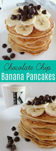 Chocolate Chip Banana Pancakes are an easy homemade breakfast recipe that the whole family will love! Sweet banana pancakes are perfect for brunch!