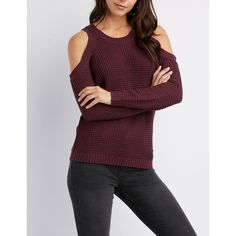 Charlotte Russe Cold Shoulder Pullover Sweater ($15) ❤ liked on Polyvore featuring tops, sweaters, purple, thick sweaters, open shoulder sweater, purple sweater, cut-out shoulder sweaters and cut-out shoulder tops