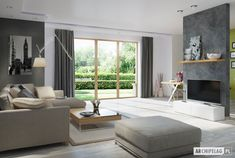 Sambor G2 (dwulokalowy) - projekt domu - Archipelag Ares, Windows, Interior Design, Europe, Plants, Living Room, Build House, Nest Design, Home Interior Design