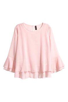 Blusa com sobreposição - Rosa claro - SENHORA   H&M PT