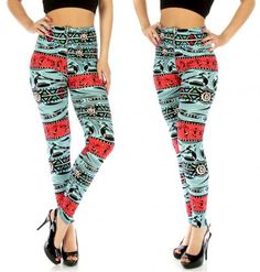 High Waist Aztec party Leggings with Zipper fits sizes S/M Add some style with our Aztec Party Leggings. These leggings feature a fun and fabulous Aztec Party print that can not be ignored. With a Splashes of sky blue and red that give these bottoms the perfect punch. Show off your amazing style with this perfect new piece for your wardrobe.