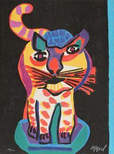 Le Chat Clown |  woodcut print, 1978 | Karel Appel