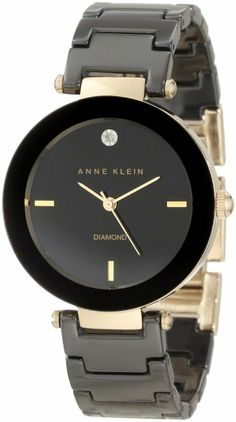 Anne Klein Women's AK/1018BKBK Black Ceramic Bracelet Watch with Diamond Accent DISCOUNT from 82.50 to US $27.50 & Free Shipping.