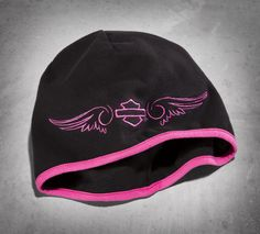 Strong against adversity –– just like you. This warm women's hat battles wet, cold, and windy conditions with style. | Harley-Davidson Women's #PinkLabel Knit Hat