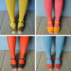 bright clogs and tights. Lotta from Stockholm