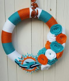 Miami Dolphins Yarn Wreath by WreathsnWrappings on Etsy