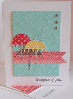 Rain or Shine stamp set; Whisper White & Pool Party CS; More Amore Specialty DSP; Raspberry Ripple, So Saffron & Chocolate Chip inks; Cloudy Day embossing folder; self-adhesive rhinestones