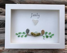 Original Sea Glass Art by lieu, Pebble art, Driftwood Art, Beach Home Decor, Family, Birds Nest