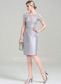 Tubo Decote redondo Coquetel Tafetá Renda Vestido para a mãe da noiva (008085295)