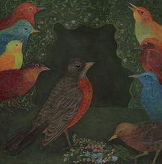 robin and birds