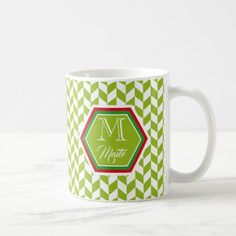 Elegant custom monogram green chevron pattern: coffee mug Custom Office Retirement #office #retirement