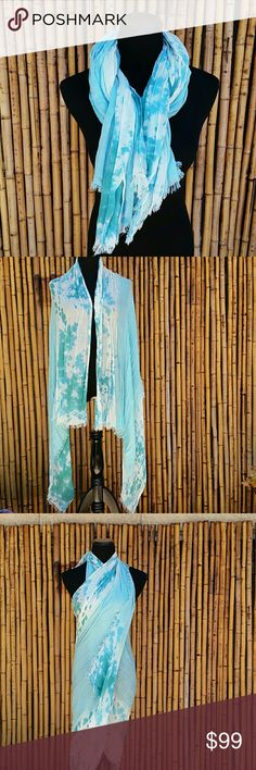 Large Aquamarine Lightweight Scarf! This large scarf can be worn multiple ways, tie it at the neck, wear it as a wrap or a dress / swim cover! The material is a semi sheer cotton in beautiful ombre seaside tones! Measures approximately 80 x70 inches. Throw it in your bag for a quick change!  🚫No Trades 🙄😘  🔘Use OFFER button to negotiate👍🤑 🔘Please Ask ❓'s BEFORE you Buy🤔😃 💕Thank you for stopping by! Happy Poshing!💕 Boutique  Accessories Scarves & Wraps