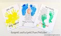 Handprint and Footprint printables. Ideal gift for Mother's Day, Father's Day and Grandparents.