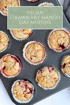 Strawberry Mango Oat Muffins - Spoonful of Kindness Oat Muffins Healthy, Gluten Free Muffins, Gluten Free Baking, Vegan Baking, Vegan Recipes Easy, Vegan Desserts, Sweet Recipes, Snack Recipes, Vegetarian Recipes