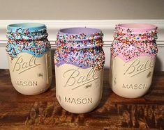 Donut jar donut centerpieces donut cupcake jar sprinkle | Etsy