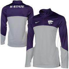 Nike Kansas State Wildcats Shootaround Quarter Zip Long Sleeve Performance T-Shirt - Purple/Gray