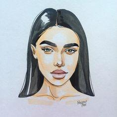 Watercolor Face, Watercolor Artwork, Watercolor Portraits, Pencil Art Drawings, Realistic Drawings, Art Drawings Sketches, Marker Kunst, Marker Art, Art Sketchbook