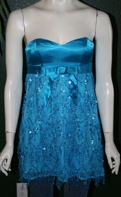SZ 2 - BETSEY JOHNSON gorgeous blue strapless sequin tulle party top size shirt #BetseyJohnson #Blouse #Clubwear designer clothes for cheap! #bcbg #victoriassecret #pink #cache #highlow #dress #heels #stilettos #designer #betseyjohnson #whitehouseblackmarket #NEW #trendy #prom #formal #homecoming #cocktail #ball #balls #designer