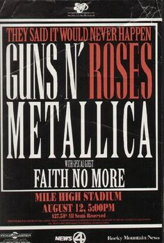 Original concert poster for Guns N' Roses and Metallica at the Mile High Stadium in Denver, Colorado. 11x17 thin paper. Multiple creases.