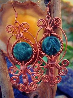 Copper Seraphinite Wire Wrapped Earrings. Wire by TheSeventhOak, $30.00