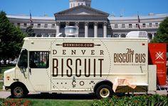 The Biscuit Bus - Denver Food Trucks Denver Food, Denver Area, Coffee Food Truck, Pizza Truck, Mobile Cafe, Meals On Wheels, Ice Cream Van, Food Truck Design, Taste And See