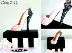 2de20270c9 gumpaste shoe and shoebox cake with lace trim by Caking It Up High Heel  Cakes