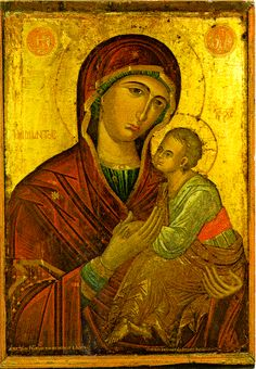 This is an example of a art piece from the Byzantine empire. It is a piece of Mosaic art. Mosaic art is putting small colored glass pieces together to form a big picture. This painting was made in the century. Byzantine Art, Byzantine Icons, Religious Icons, Religious Art, Paint Icon, Madonna And Child, Medieval Art, Orthodox Icons, Blessed Mother