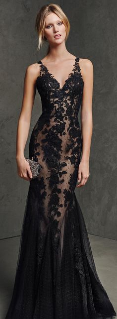 black lace prom dress , v neck long lace prom dresses www.promuk.co.uk