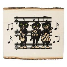 #rustic - #Three Black Cat Musicians Sheet Music Green Eyes Wood Panel