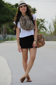 basic black shorts, white tee, brogues and scarf