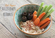 Garlic + Red Pepper Cauliflower Hummus - cauliflower, almond butter, garlic cloves, red pepper flakes, olive oil (might reduce), sea salt, lemon juice, paprika (for garnish)