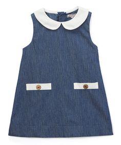 Another great find on #zulily! Navy Peter Pan Collar Sleeveless A-Line Dress - Infant & Toddler #zulilyfinds