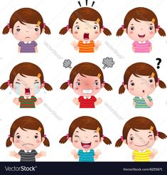 Cute girl faces showing different emotions vector image on VectorStock