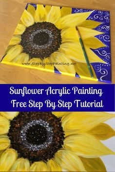 Sunflower Canvas Paintings, Small Canvas Paintings, Simple Acrylic Paintings, Easy Paintings, Acrylic Painting Canvas, Diy Painting, Painting Steps, Painting Stencils, Hippie Painting