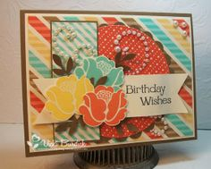 Birthday card featuring Stampin' Up! Retro Fresh designer series paper #StampinUp