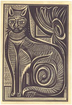 By Stephen Alcorn (1935-1992), 1987, The Cat, Relief-block print.