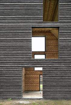 brickwork gives a ribbed facade to this family house near Brussels. Brick Architecture, Contemporary Architecture, Architecture Details, Chinese Architecture, Architecture Office, Futuristic Architecture, Brick Design, Facade Design, Exterior Design