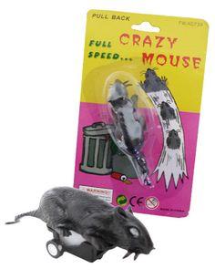 """Aufziehbare Ratte Scherzartikel schwarz. Aus der Kategorie Scherzartikel / Schülterstreiche. """"Muriphobie"""" bezeichnet die Angst vor Mäusen und Ratten. Wenn Sie gerne einmal testen wollen, wie sehr diese Furcht verbreitet ist, dann hilft Ihnen die aufziehbare Spielzeug-Ratte sicherlich gern dabei!"""
